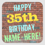 [ Thumbnail: Brick Wall Graffiti Inspired 35th Birthday + Name Sticker ]