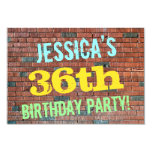 [ Thumbnail: Brick Wall Graffiti Inspired 36th Birthday + Name Invitation ]
