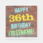 [ Thumbnail: Brick Wall Graffiti Inspired 36th Birthday + Name Napkin ]