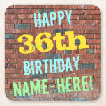 [ Thumbnail: Brick Wall Graffiti Inspired 36th Birthday + Name Paper Coaster ]