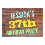[ Thumbnail: Brick Wall Graffiti Inspired 37th Birthday + Name Invitation ]