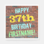 [ Thumbnail: Brick Wall Graffiti Inspired 37th Birthday + Name Napkin ]