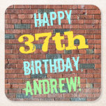 [ Thumbnail: Brick Wall Graffiti Inspired 37th Birthday + Name Paper Coaster ]