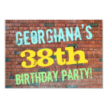 [ Thumbnail: Brick Wall Graffiti Inspired 38th Birthday + Name Invitation ]