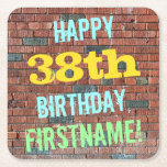 [ Thumbnail: Brick Wall Graffiti Inspired 38th Birthday + Name Paper Coaster ]