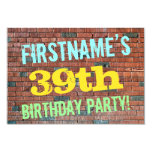 [ Thumbnail: Brick Wall Graffiti Inspired 39th Birthday + Name Invitation ]