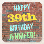 [ Thumbnail: Brick Wall Graffiti Inspired 39th Birthday + Name Paper Coaster ]