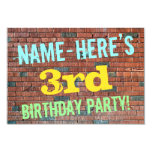 [ Thumbnail: Brick Wall Graffiti Inspired 3rd Birthday + Name Invitation ]