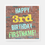 [ Thumbnail: Brick Wall Graffiti Inspired 3rd Birthday + Name Paper Napkin ]