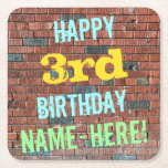 [ Thumbnail: Brick Wall Graffiti Inspired 3rd Birthday + Name Paper Coaster ]