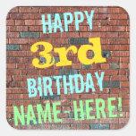 [ Thumbnail: Brick Wall Graffiti Inspired 3rd Birthday + Name Sticker ]