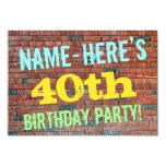 [ Thumbnail: Brick Wall Graffiti Inspired 40th Birthday + Name Invitation ]