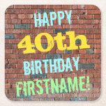 [ Thumbnail: Brick Wall Graffiti Inspired 40th Birthday + Name Paper Coaster ]