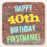 [ Thumbnail: Brick Wall Graffiti Inspired 40th Birthday + Name Paper Coaster ]