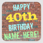 [ Thumbnail: Brick Wall Graffiti Inspired 40th Birthday + Name Sticker ]