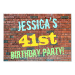 [ Thumbnail: Brick Wall Graffiti Inspired 41st Birthday + Name Invitation ]