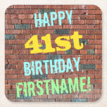[ Thumbnail: Brick Wall Graffiti Inspired 41st Birthday + Name Paper Coaster ]