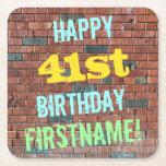[ Thumbnail: Brick Wall Graffiti Inspired 41st Birthday + Name Paper Coaster ]