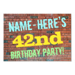 [ Thumbnail: Brick Wall Graffiti Inspired 42nd Birthday + Name Invitation ]