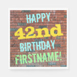 [ Thumbnail: Brick Wall Graffiti Inspired 42nd Birthday + Name Napkin ]
