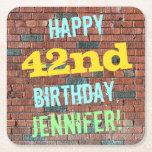 [ Thumbnail: Brick Wall Graffiti Inspired 42nd Birthday + Name Paper Coaster ]