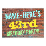 [ Thumbnail: Brick Wall Graffiti Inspired 43rd Birthday + Name Invitation ]