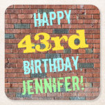[ Thumbnail: Brick Wall Graffiti Inspired 43rd Birthday + Name Paper Coaster ]
