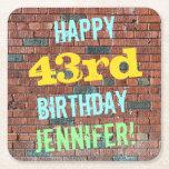 [ Thumbnail: Brick Wall Graffiti Inspired 43rd Birthday + Name Paper Coaster ]