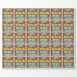 [ Thumbnail: Brick Wall Graffiti Inspired 43rd Birthday + Name Wrapping Paper ]