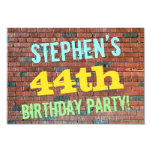 [ Thumbnail: Brick Wall Graffiti Inspired 44th Birthday + Name Invitation ]
