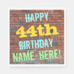 [ Thumbnail: Brick Wall Graffiti Inspired 44th Birthday + Name Napkin ]