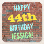 [ Thumbnail: Brick Wall Graffiti Inspired 44th Birthday + Name Paper Coaster ]