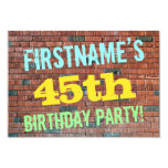 [ Thumbnail: Brick Wall Graffiti Inspired 45th Birthday + Name Invitation ]
