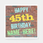 [ Thumbnail: Brick Wall Graffiti Inspired 45th Birthday + Name Paper Napkin ]