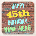 [ Thumbnail: Brick Wall Graffiti Inspired 45th Birthday + Name Paper Coaster ]