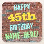 [ Thumbnail: Brick Wall Graffiti Inspired 45th Birthday + Name Paper Coaster ]
