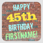 [ Thumbnail: Brick Wall Graffiti Inspired 45th Birthday + Name Sticker ]