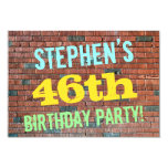 [ Thumbnail: Brick Wall Graffiti Inspired 46th Birthday + Name Invitation ]