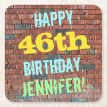 [ Thumbnail: Brick Wall Graffiti Inspired 46th Birthday + Name Paper Coaster ]