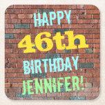 [ Thumbnail: Brick Wall Graffiti Inspired 46th Birthday + Name Paper Coaster ]
