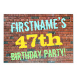 [ Thumbnail: Brick Wall Graffiti Inspired 47th Birthday + Name Invitation ]