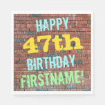 [ Thumbnail: Brick Wall Graffiti Inspired 47th Birthday + Name Napkin ]
