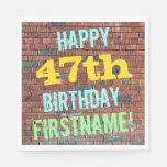 [ Thumbnail: Brick Wall Graffiti Inspired 47th Birthday + Name Napkin ]