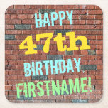 [ Thumbnail: Brick Wall Graffiti Inspired 47th Birthday + Name Paper Coaster ]