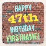 [ Thumbnail: Brick Wall Graffiti Inspired 47th Birthday + Name Paper Coaster ]