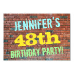 [ Thumbnail: Brick Wall Graffiti Inspired 48th Birthday + Name Invitation ]