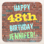 [ Thumbnail: Brick Wall Graffiti Inspired 48th Birthday + Name Paper Coaster ]