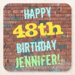 [ Thumbnail: Brick Wall Graffiti Inspired 48th Birthday + Name Paper Coaster ]