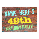 [ Thumbnail: Brick Wall Graffiti Inspired 49th Birthday + Name Invitation ]