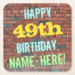 [ Thumbnail: Brick Wall Graffiti Inspired 49th Birthday + Name Paper Coaster ]